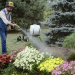 Mighty Mac 22 Gallon Sprayer being used to water flowers