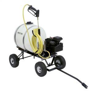 Mighty Mac 22 Gallon Sprayers - yellow hose, white 22 gallon tank